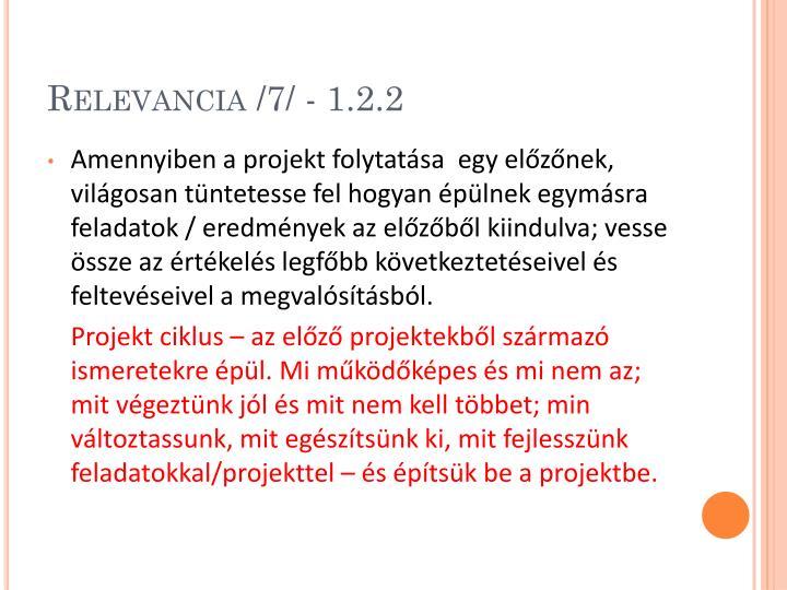 Relevancia /7/ - 1.2.2