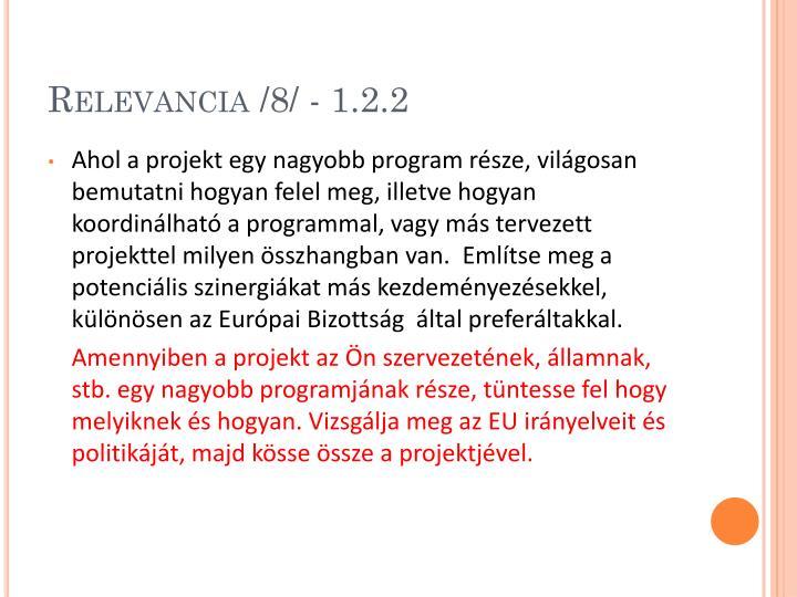 Relevancia /8/ - 1.2.2