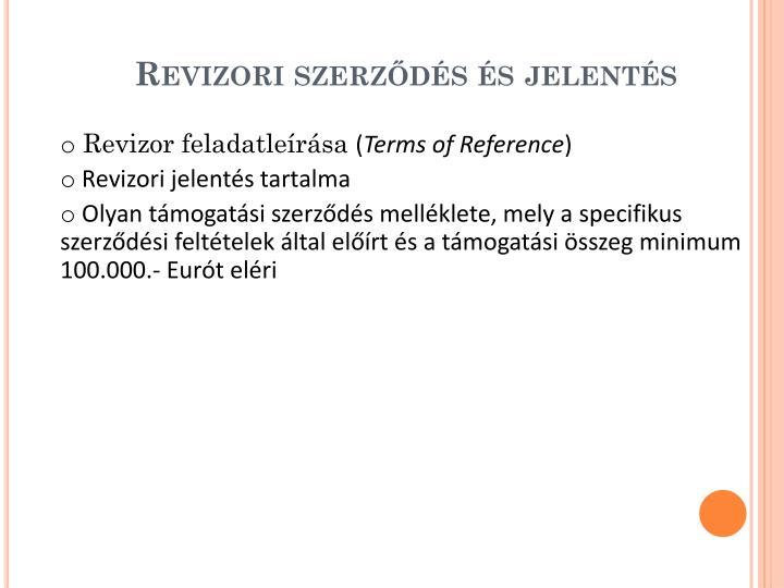Revizori szerződés és jelentés