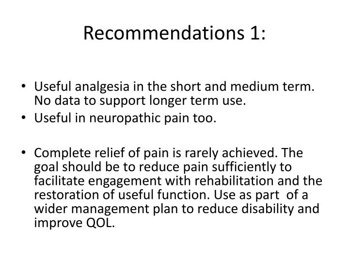 Recommendations 1: