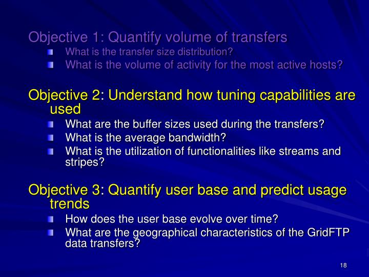 Objective 1: Quantify volume of transfers