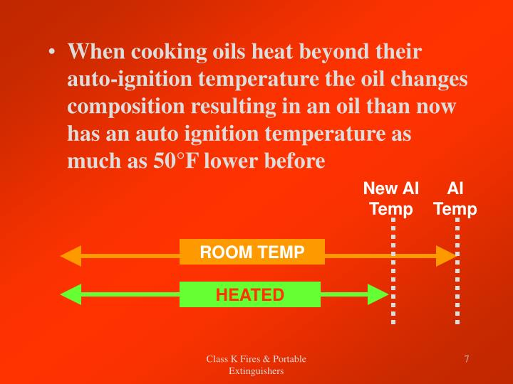 When cooking oils heat beyond their auto-ignition temperature the oil changes composition resulting in an oil than now has an auto ignition temperature as much as 50°F lower before
