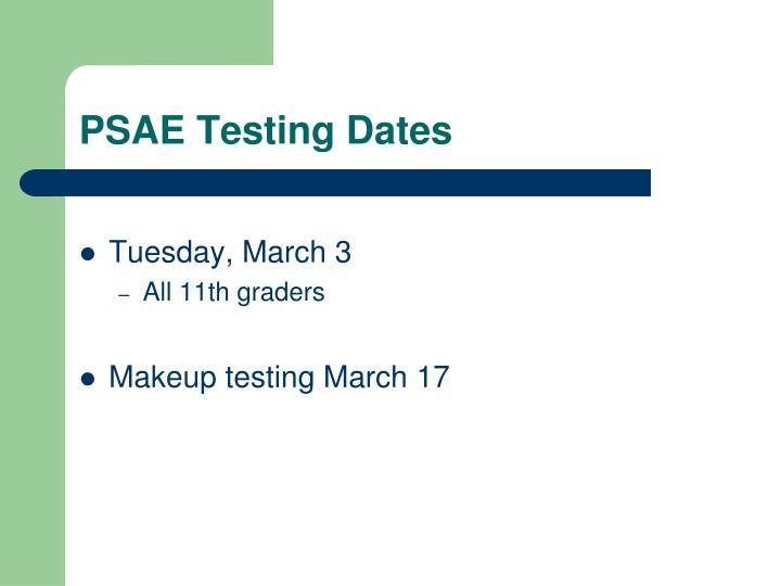 PSAE Testing Dates