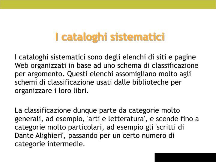 I cataloghi sistematici
