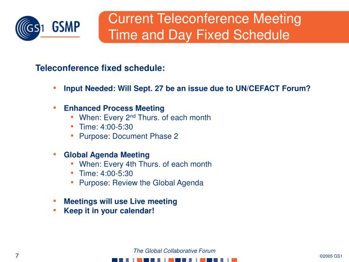 Current Teleconference Meeting Time and Day Fixed Schedule