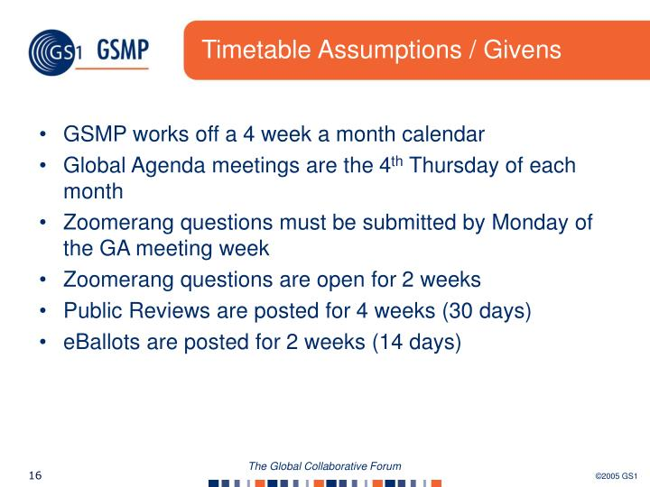 Timetable Assumptions / Givens