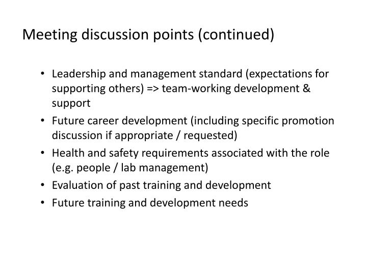 Meeting discussion points (continued)