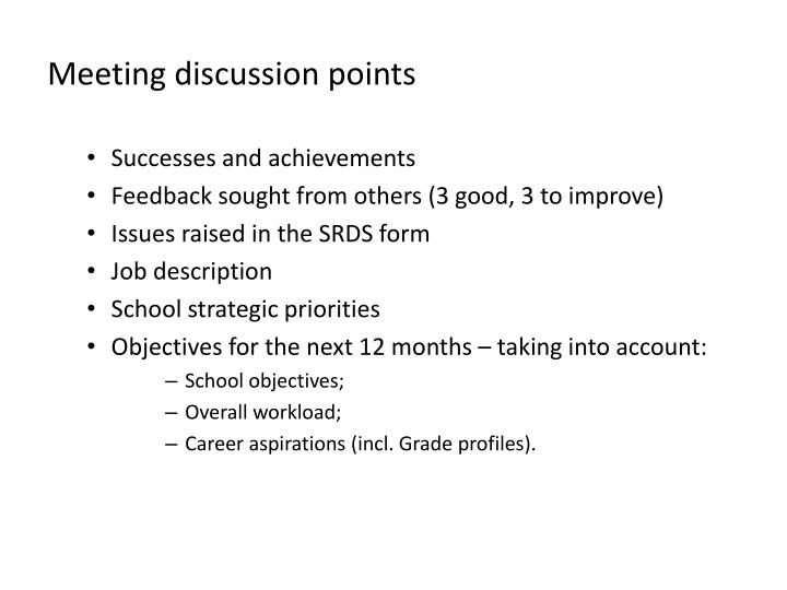 Meeting discussion points