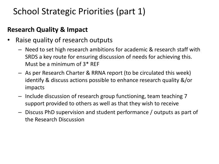 School Strategic Priorities (part 1)
