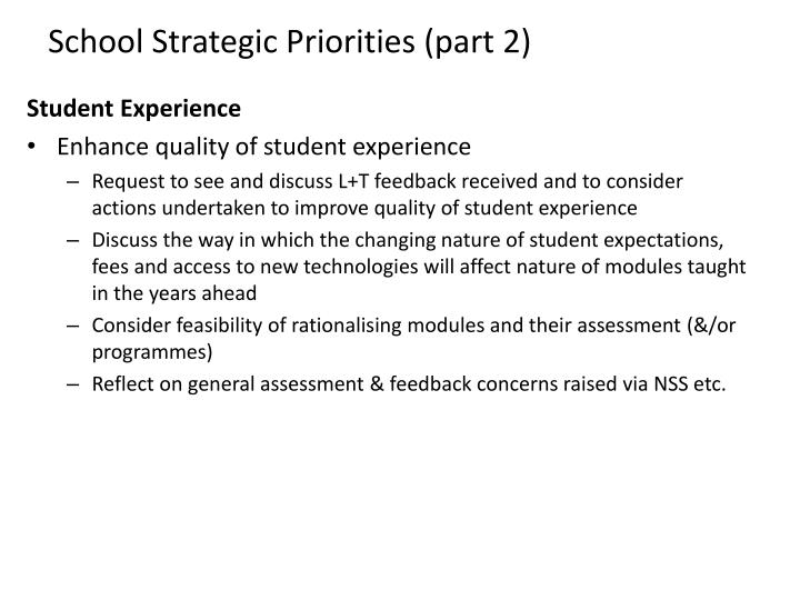 School Strategic Priorities (part 2)