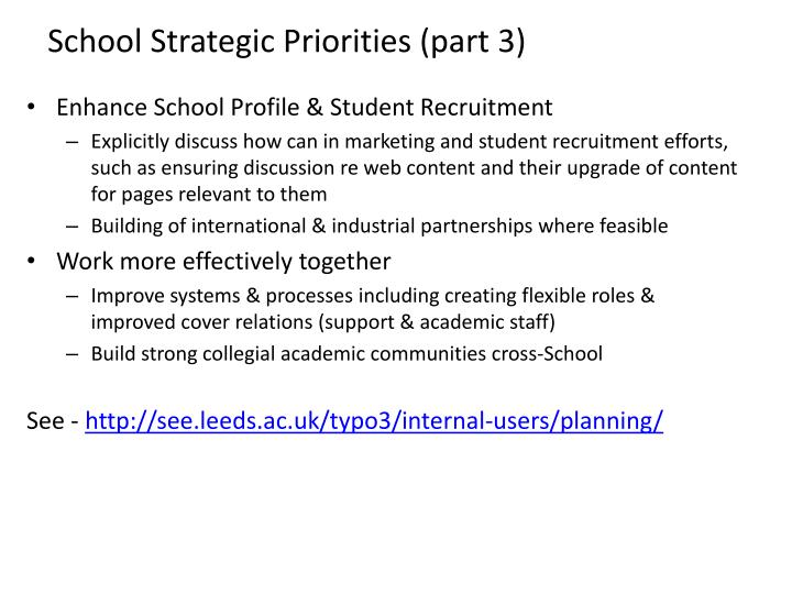 School Strategic Priorities (part 3)