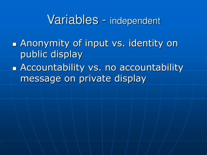 Variables independent