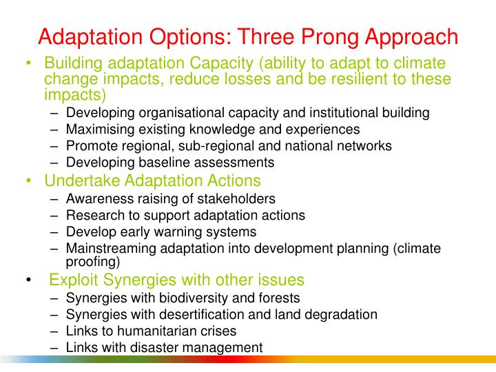 Adaptation Options: Three Prong Approach