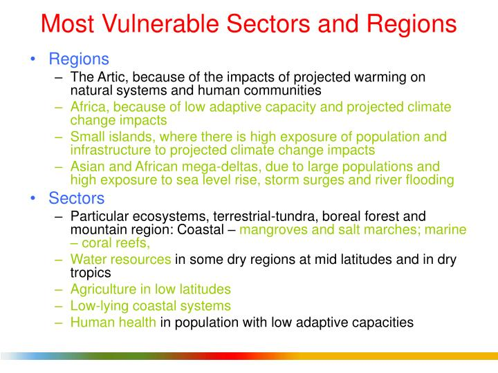 Most Vulnerable Sectors and Regions