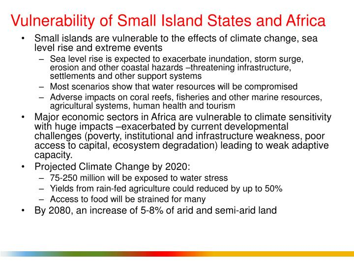 Vulnerability of Small Island States and Africa