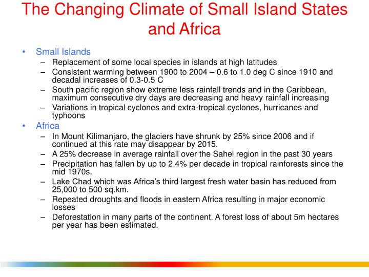 The Changing Climate of Small Island States and Africa