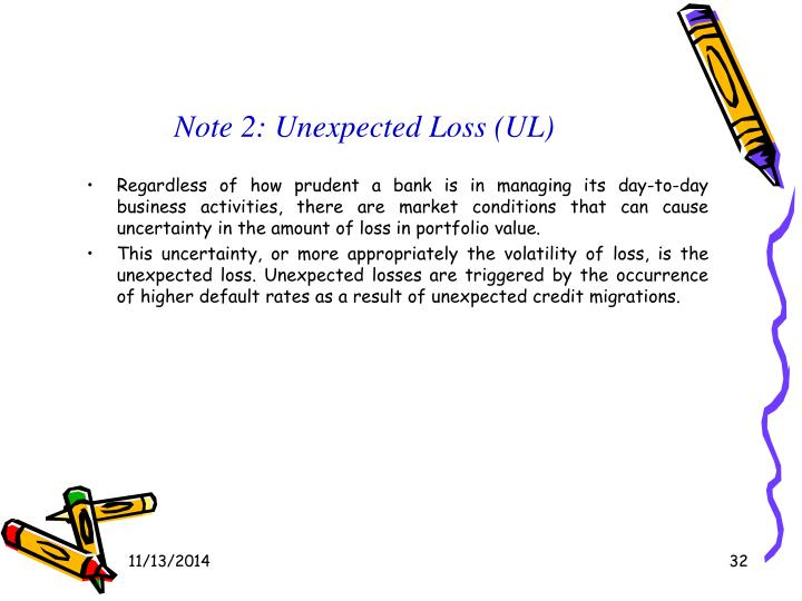 Note 2: Unexpected Loss (UL)