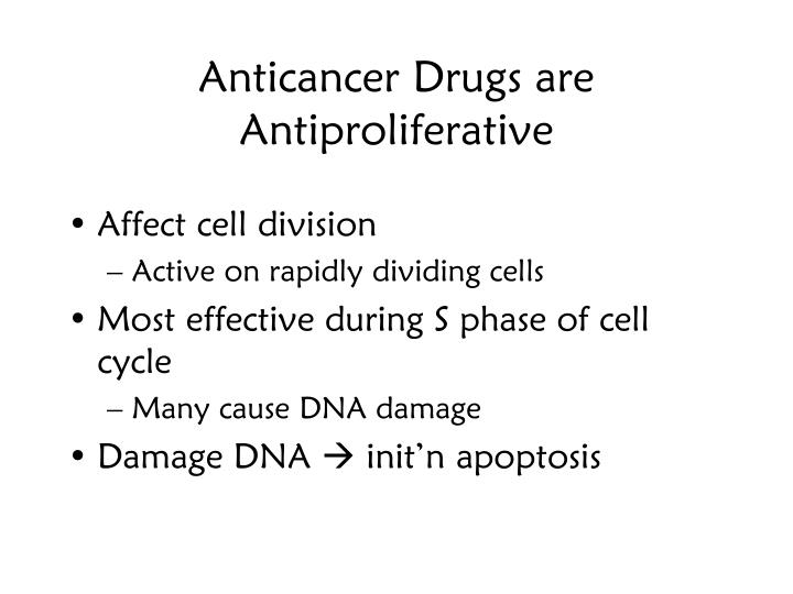 Anticancer Drugs are Antiproliferative