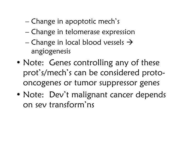 Change in apoptotic mech's