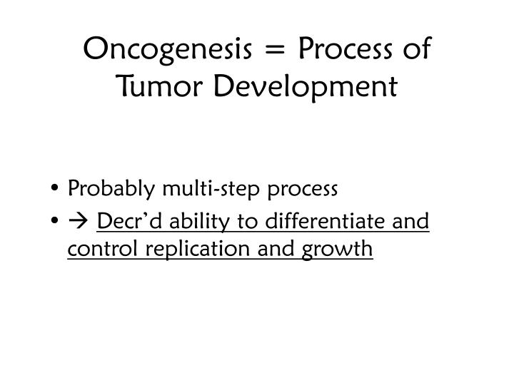 Oncogenesis = Process of Tumor Development