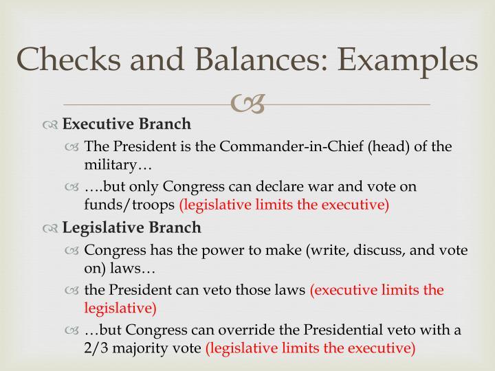 Checks and Balances: Examples