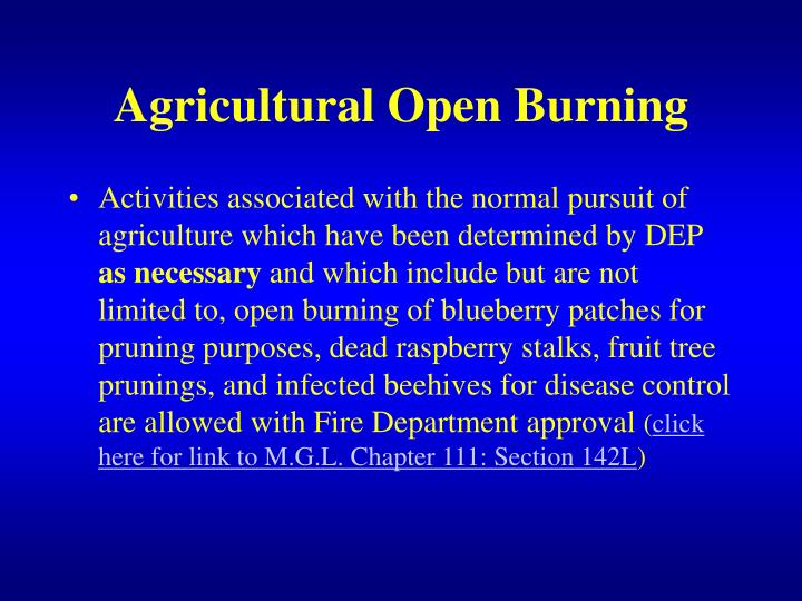 Agricultural Open Burning