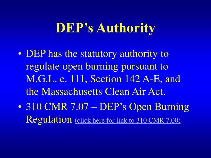 DEP's Authority