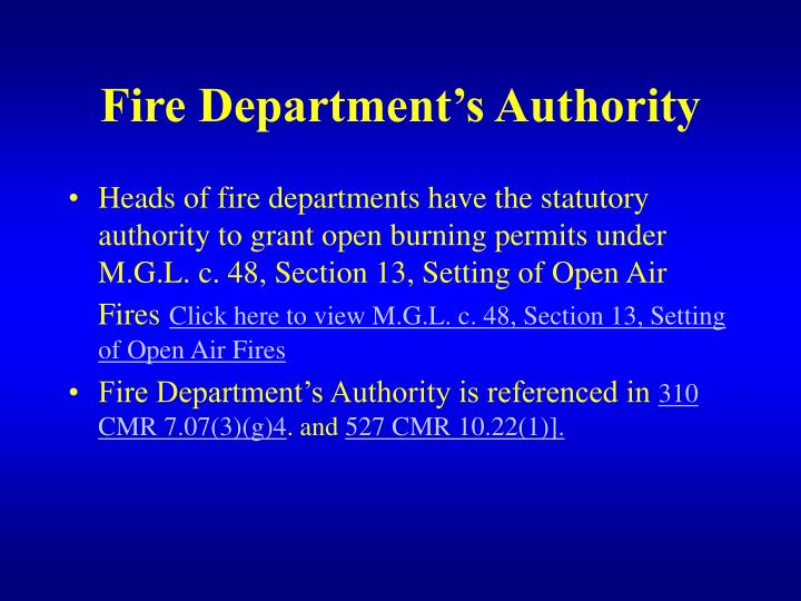 Fire Department's Authority