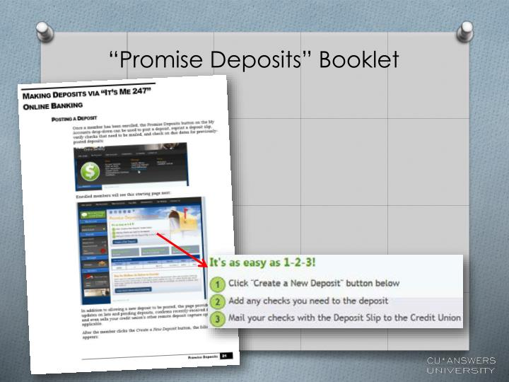 """Promise Deposits"" Booklet"