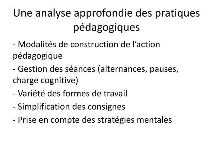 Une analyse approfondie des pratiques pédagogiques