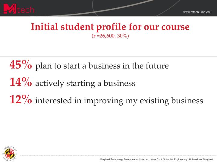 Initial student profile for our course