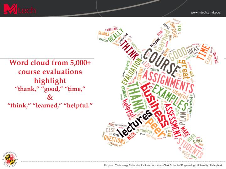 Word cloud from 5,000+ course evaluations highlight
