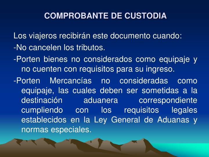 COMPROBANTE DE CUSTODIA