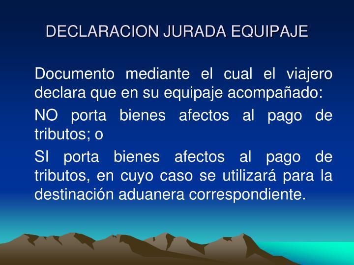 DECLARACION JURADA EQUIPAJE