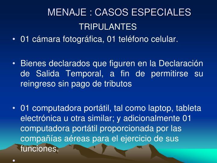 MENAJE : CASOS ESPECIALES