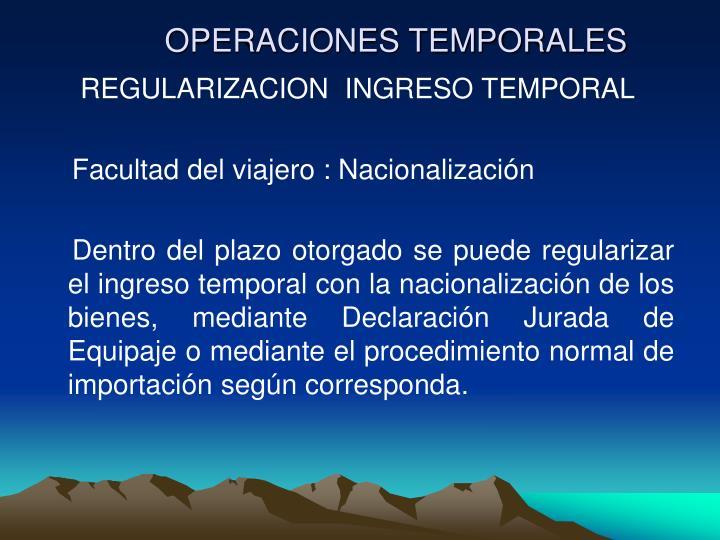 OPERACIONES TEMPORALES