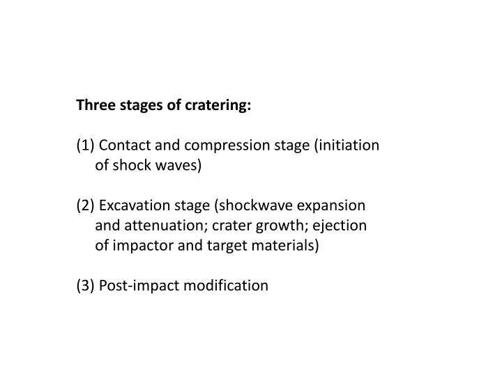Three stages of cratering:
