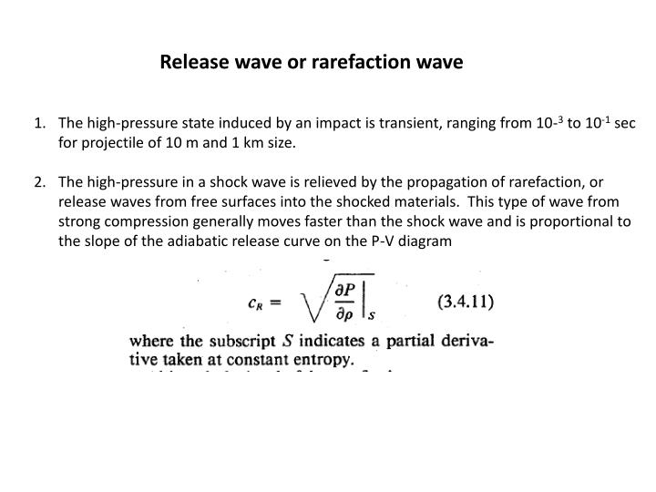 Release wave or rarefaction wave