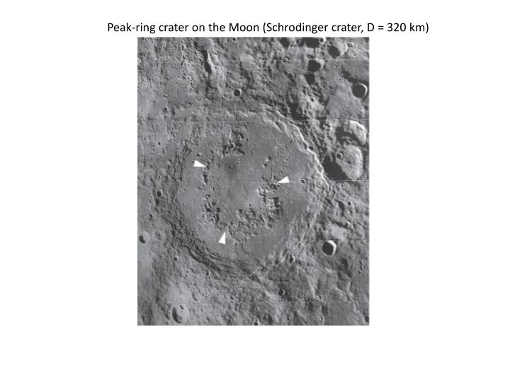 Peak-ring crater on the Moon (Schrodinger crater, D = 320 km)