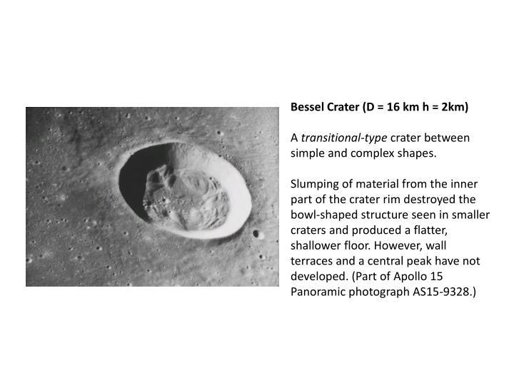 Bessel Crater (D = 16 km h = 2km)