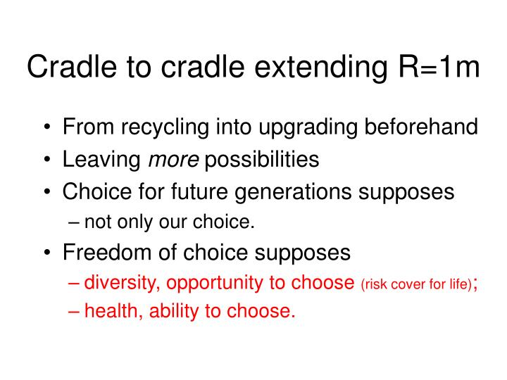 Cradle to cradle extending R=1m