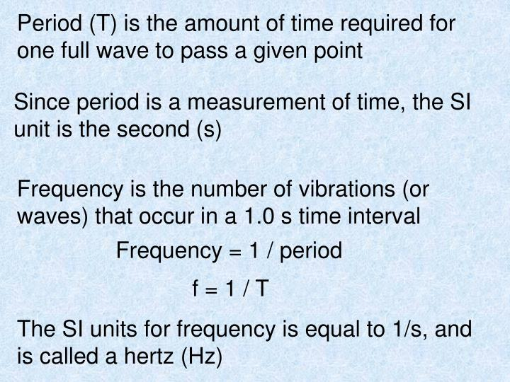 Period (T) is the amount of time required for one full wave to pass a given point