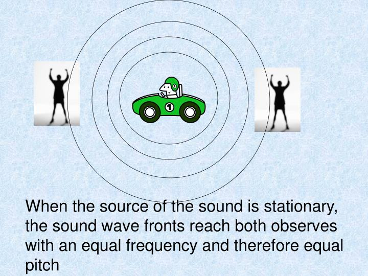 When the source of the sound is stationary, the sound wave fronts reach both observes with an equal frequency and therefore equal pitch