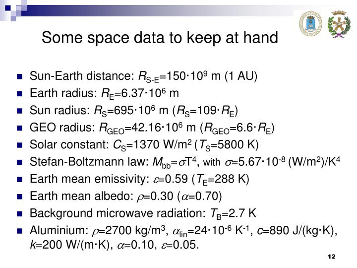 Some space data to keep at hand