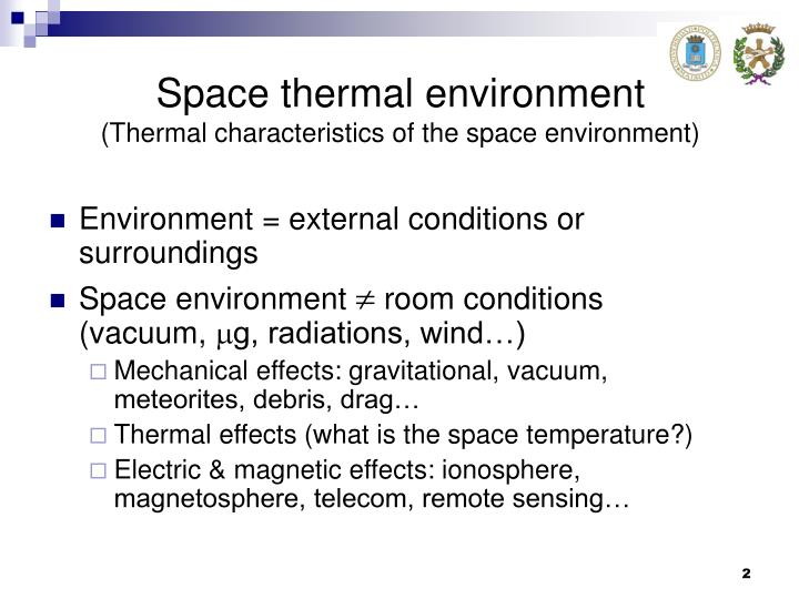 Space thermal environment thermal characteristics of the space environment