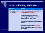 hints on finding main idea