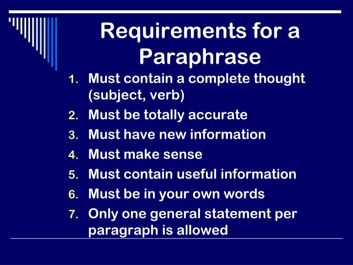 Requirements for a Paraphrase