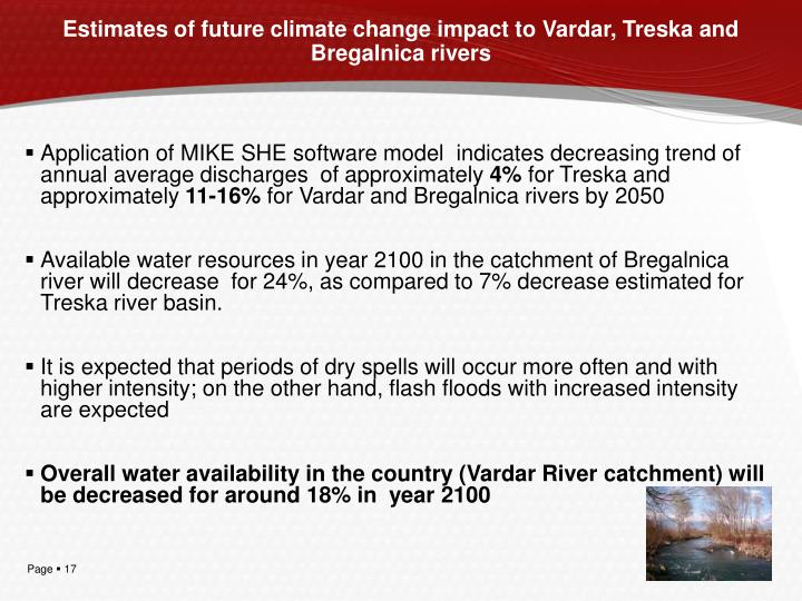 Estimates of future climate change impact to Vardar, Treska and Bregalnica rivers