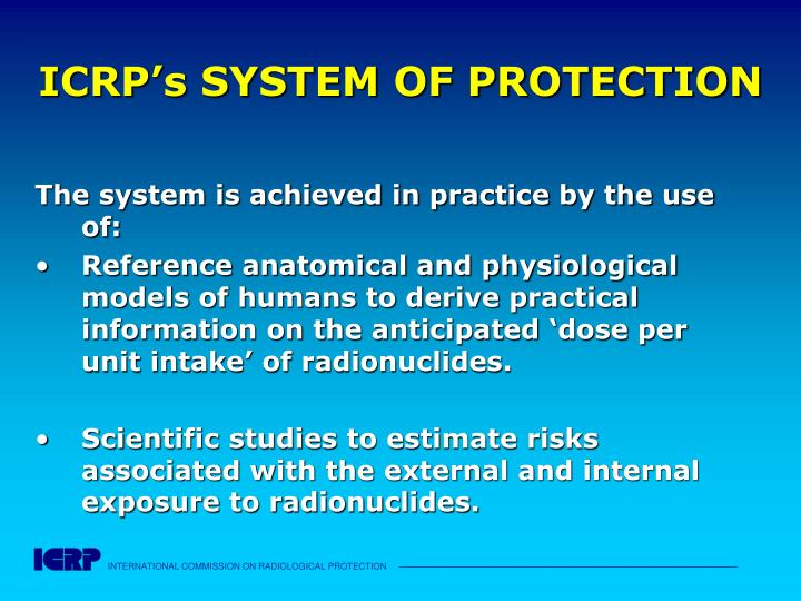 ICRP's SYSTEM OF PROTECTION