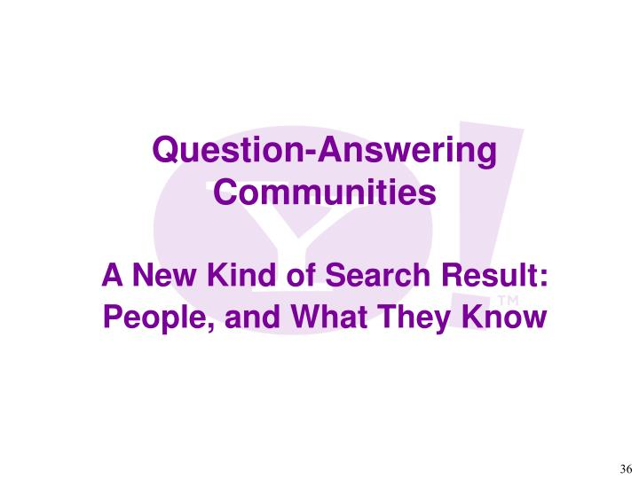 Question-Answering Communities
